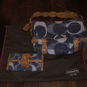Denim Coach handbag and wallet